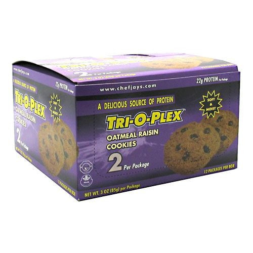 Chef Jays Tri-O-Plex Cookies - Oatmeal Raisin - 12 Packages - 678991112233