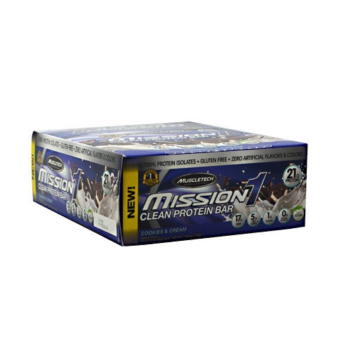MuscleTech Mission1 - Cookies & Cream - 12 Bars - 631656560541