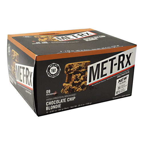 MET-Rx High Protein Brownie - Chocolate Chip Blondie - 9 Bars - 786560000369