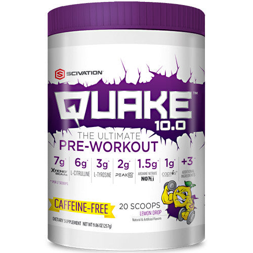 Scivation Quake 10.0 Caffeine Free - Lemon Drop - 20 ea - 812135021573