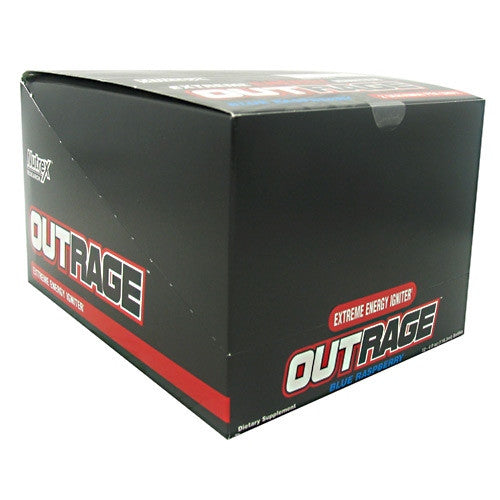 Nutrex Outrage Energy Shot - Blue Raspberry - 12 Bottles - 857268005458