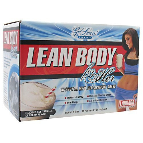 Labrada Nutrition Lean Body for Her - Delicious Soft Vanilla Ice Cream - 20 Packets - 710779112384