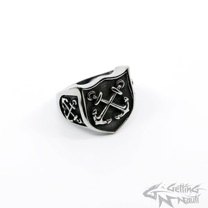 WYSIWYG - Men's Stainless Steel Crossed Anchors RIng - Size 13