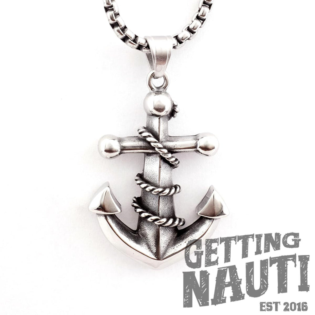 "Getting Nauti's Stainless Anchor Pendant & 24"" Chain"