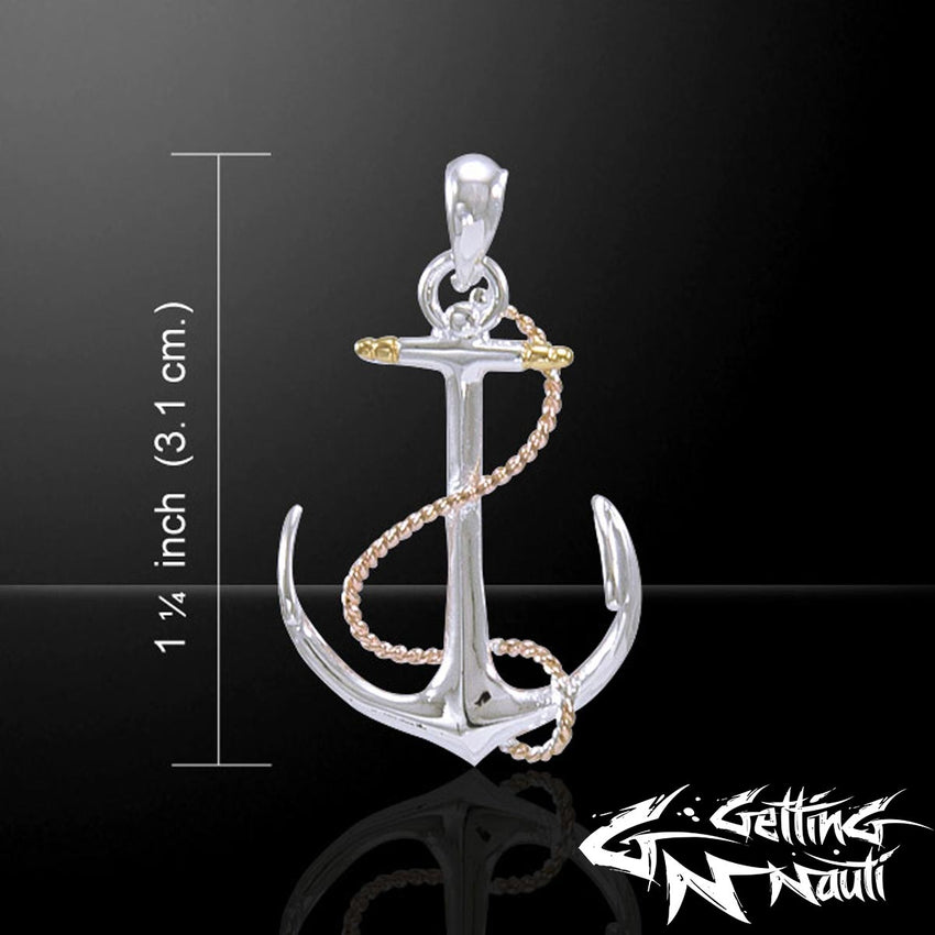 Custom Sterling Silver Necklace - Anchor & Rope (2 Color 14k Gold Plated)