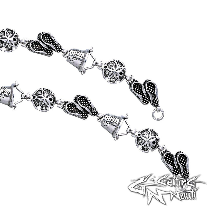 Custom Sterling Silver Bracelet - A Day at the Beach