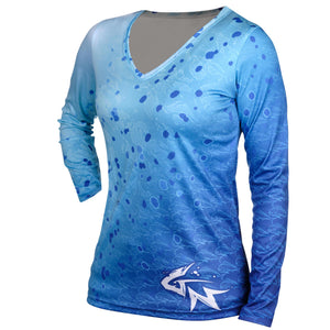 Women's Blue Dorado Long Sleeve Performance V-Neck