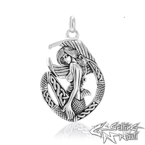 Custom Sterling Silver Celtic Mermaid Necklace