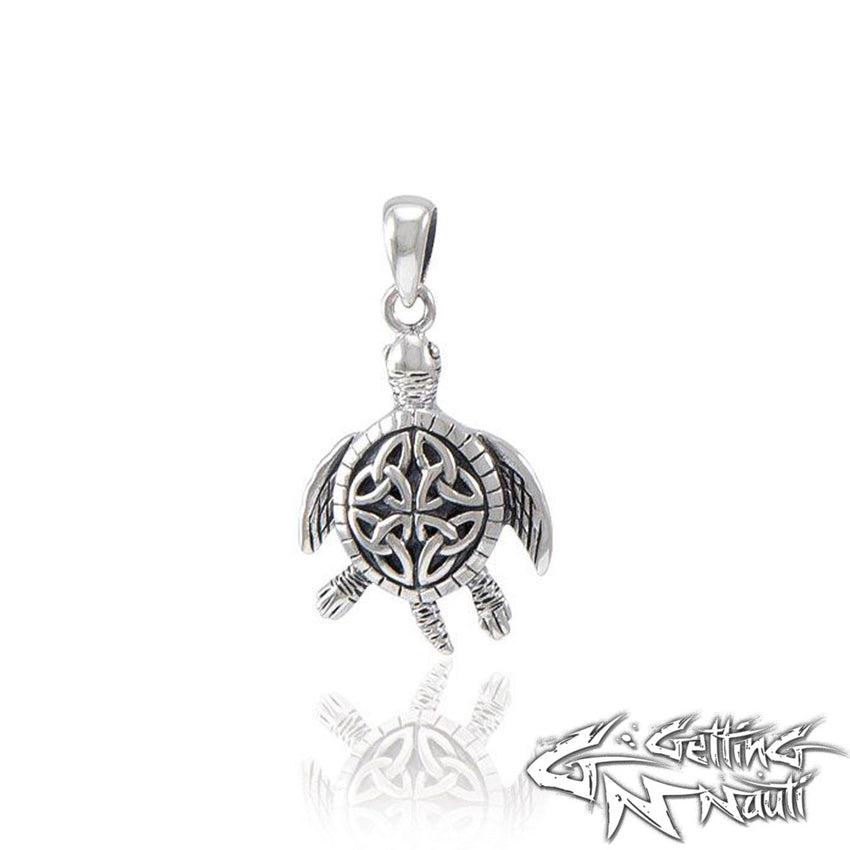 Custom Sterling Silver Celtic Sea Turtle Necklace