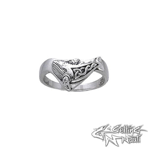 Custom Sterling Silver Celtic Whale Ring