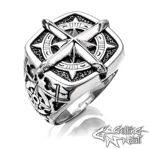 The Compass Rose - Custom Sterling Silver Ring (Large)