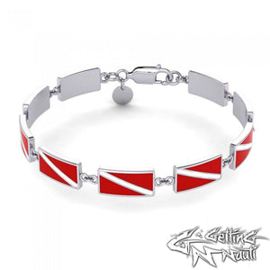 Custom Sterling Silver Dive Flag Bracelet