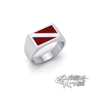 Custom Sterling Silver Dive Flag Ring