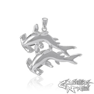 Custom Sterling Silver  Double Hammerhead Sharks Necklace