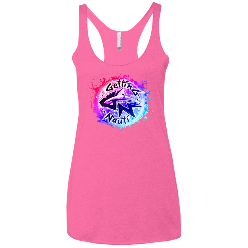 Pink & Blue Splash Ladies' Triblend Racerback Tank