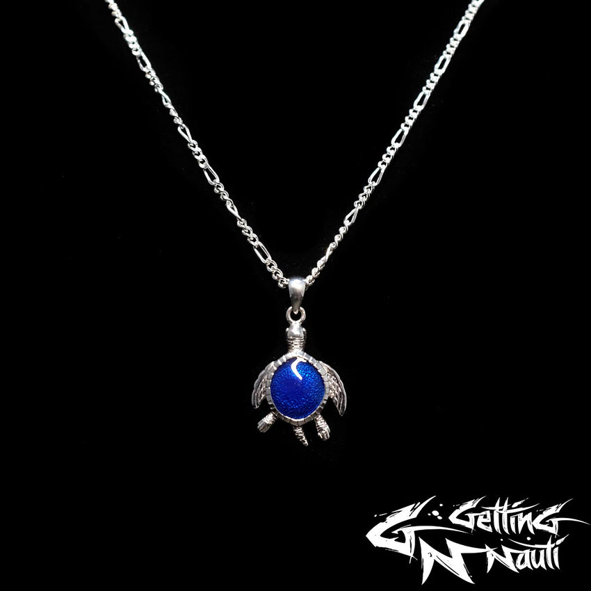 Custom Sterling Silver Necklace - Gem Shell Sea Turtle