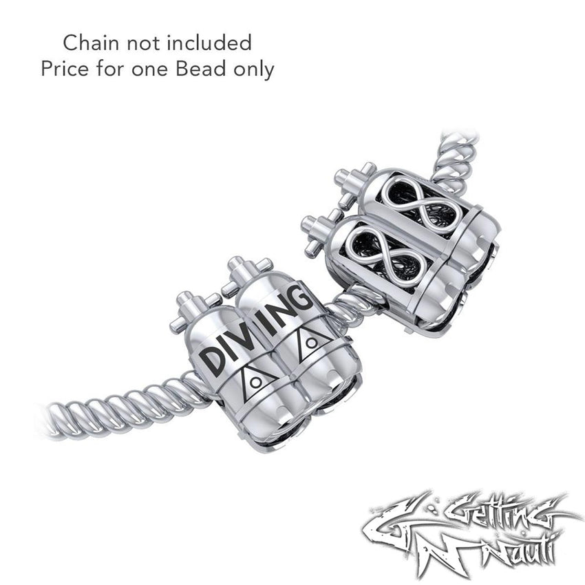 Custom Sterling Silver Infinity Dive Tanks Bead Charm (Pandora Compatible)