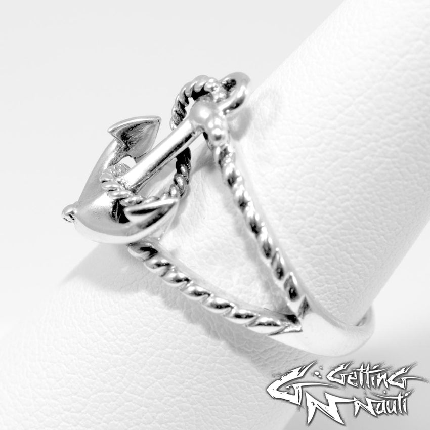 Custom Sterling Silver Ring -  Anchor & Rope