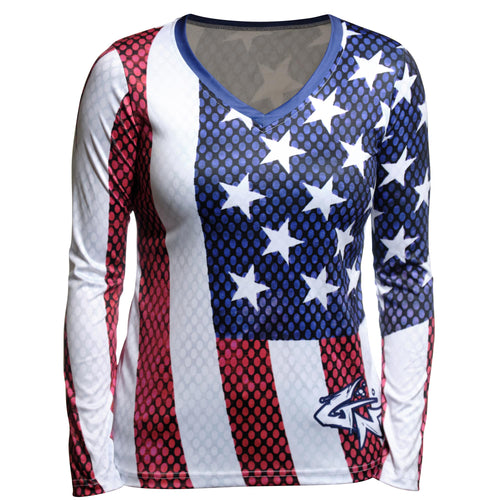 WYSIWYG - Women's Old Glory Long Sleeve Performance V-Neck