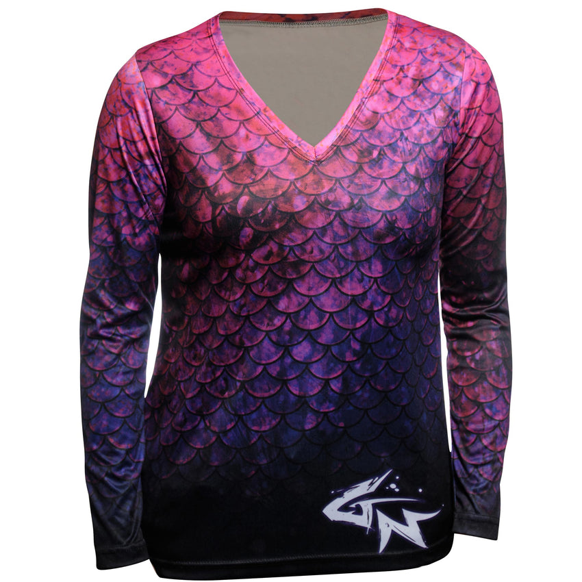 Women's Pink Mermaid Long Sleeve Performance V-Neck