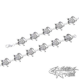 Custom Sterling Silver Sea Turtles Bracelet