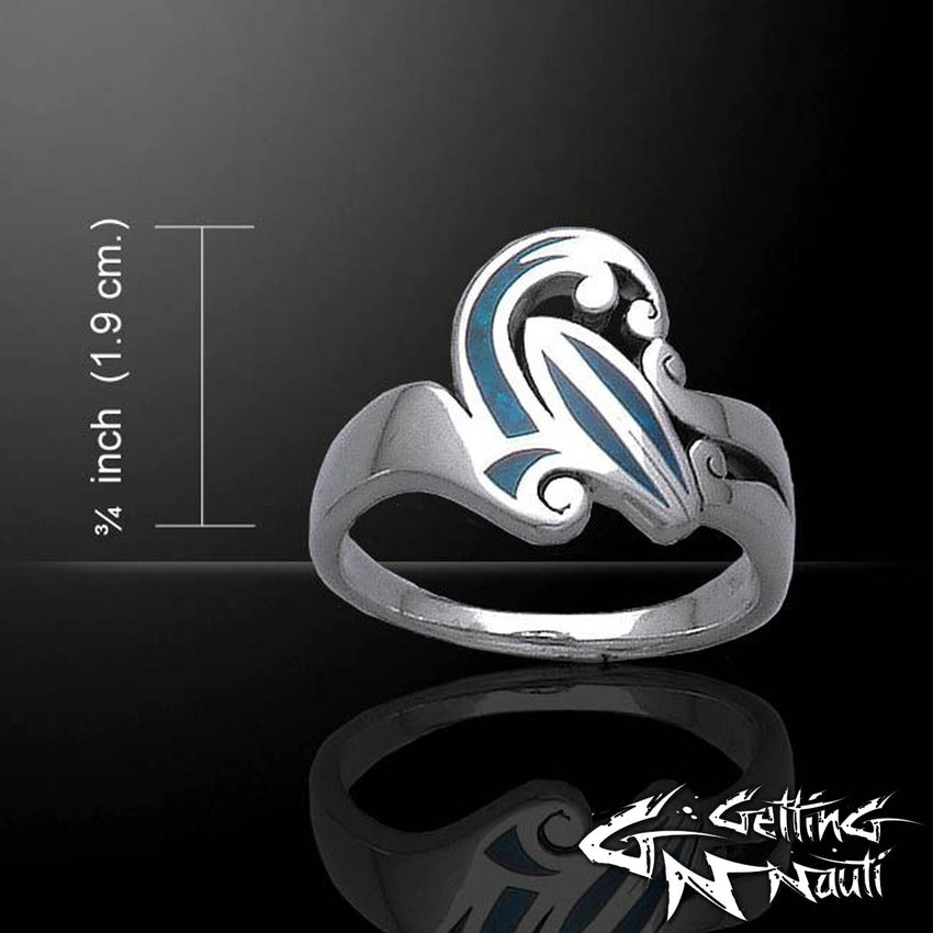 Custom Sterling Silver Surfing Waves Ring