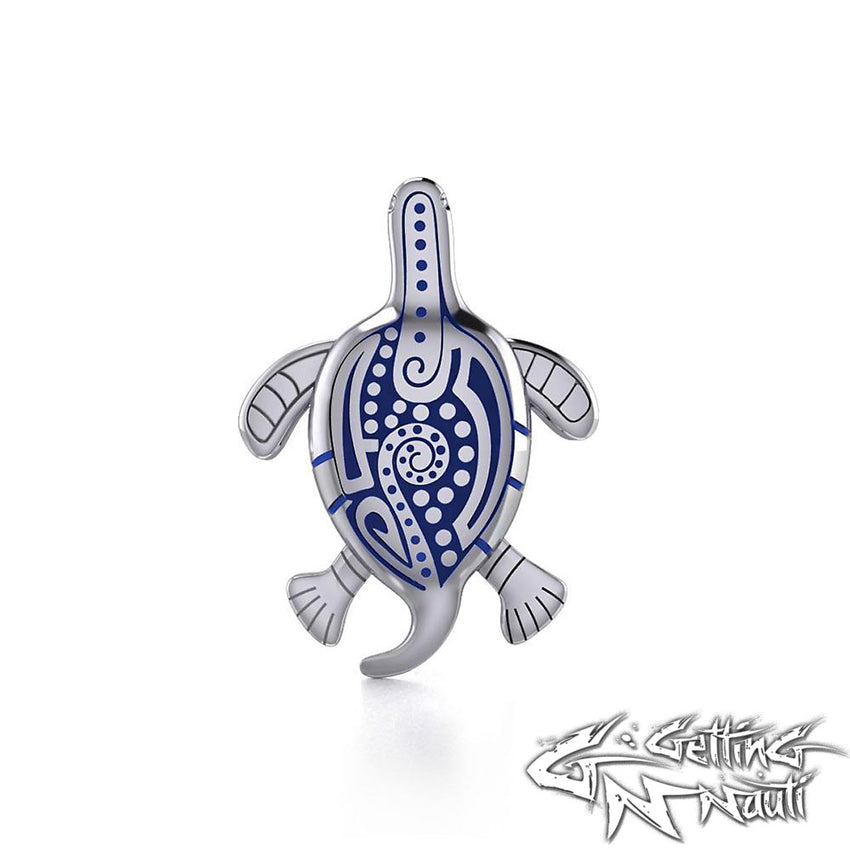 Custom Sterling Silver Aboriginal Sea Turtle Necklace