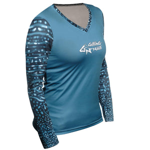 Women's Whale Shark Long Sleeve Performance V-Neck