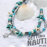 Jewelry - Bohemian Layered Sea Star Anklet With Anchor, Starfish, Turtle, Or Wave Charm