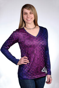 Performance Activewear - Women's Mermaid Scales Long Sleeve Performance V-Neck