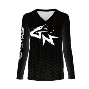 Performance Activewear - Women's Shark Logo Long Sleeve Performance V-Neck