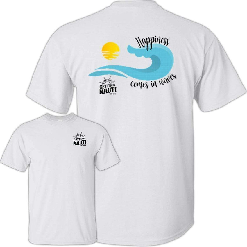 T-Shirts - Happiness Comes In Waves - Cotton T-Shirt