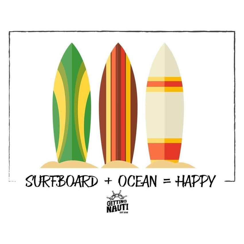 T-Shirts - Surfboard + Ocean = Happy - Cotton T-Shirt