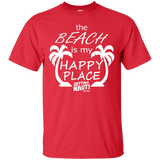 T-Shirts - The Beach Is My Happy Place - Cotton T-Shirt