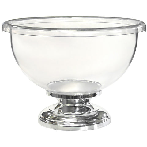 Champagne Bowl - Clear Plastic with Chrome Coated Base