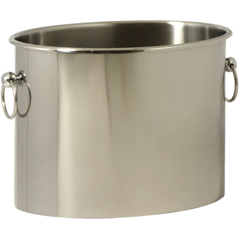 Wine Bucket, Oval, Stainless Steel with Silver Rings