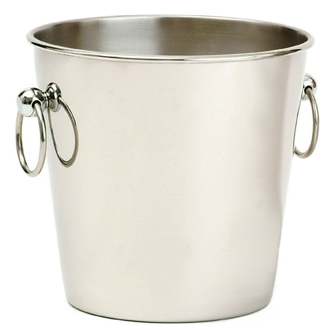 Wine Bucket, Polished Steel with Ring Handles