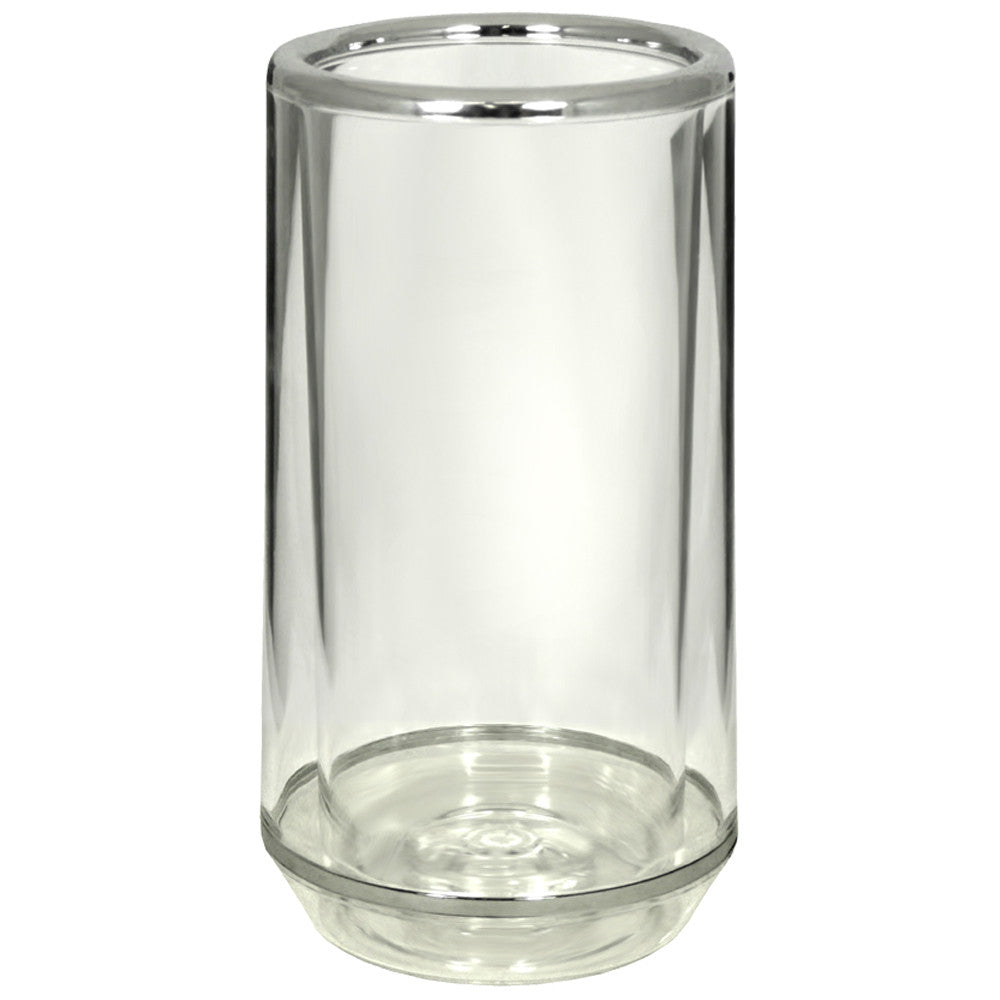 Wine Cooler, Double Wall, Clear with Silver Rim