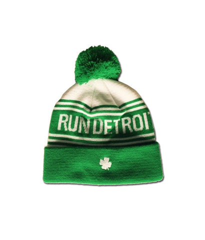 2016 Detroit Green Striped Shamrock Beanie