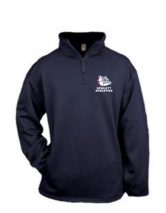 Hewlett Athletics Navy  Badger  1/4 zip embroidered
