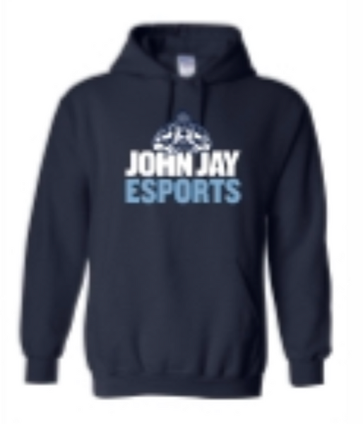 FRUIT OF THE LOOM NAVY WOMEN'S ZIPPER HOODIE  W/ JOHN JAY COLLEGE  EMBROIDERED LEFT CHEST