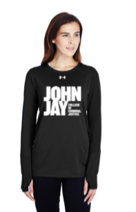 UNDER ARMOUR LADIES  BLACK  LONG SLEEVE W/ JOHN JAY COLLEGE LOGO FULL FRONT