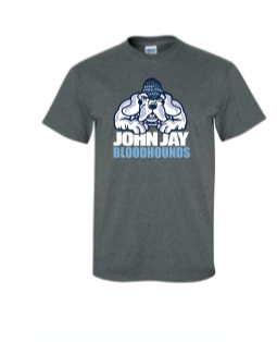 BELLA ATHLETIC HEATHER SHORT SLEEVE TRI BLEND  UNISEX COTTON SHIRT w/ BLOODHOUNDS LOGO  LOGO