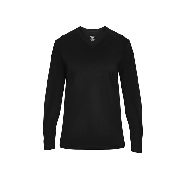 WOMEN'S BADGER  V NECK DRI FIT LONG SLEEVE SHIRTS W/ TWO COLOR IMPRINT