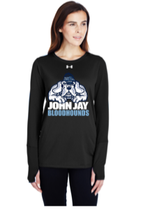 UNDER ARMOUR LADIES  BLACK  LONG SLEEVE W/ BLOODHOUNDS  LOGO FULL FRONT