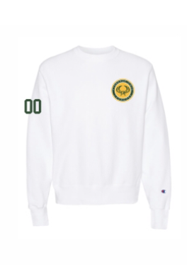 White  Champion Heavyweight Crew Sweatshirt w/numbers on sleeve