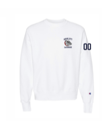Hewlett Lax White  Champion Heavyweight Crew Sweatshirt w/numbers on sleeve