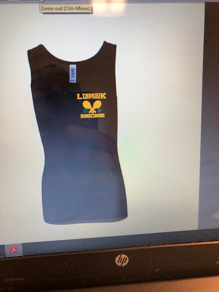BLACK BELLA HOMECOMING TANK - FRONT AND BACK SCREENED IMPRINT