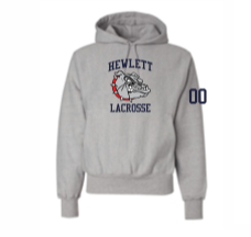 Hewlett Lax Oxford Champion Heavyweight Sweatshirt with NUMBERS on SLEEVE
