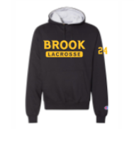 BLACK CHAMPION UNISEX HOODY W/ LYNBROOK LOGO FRONT AND  NUMBER ON SLEEVE